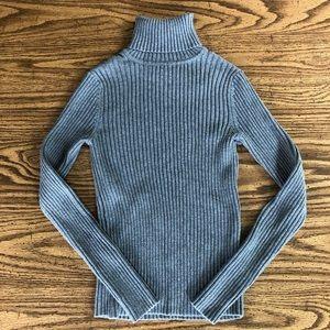 Ann Taylor LOFT Gray Ribbed Turtleneck Sweater
